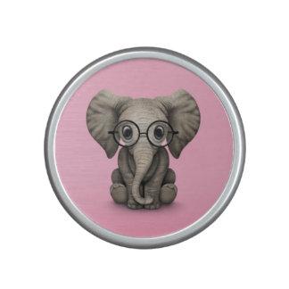 Niedlicher Baby-Elefant mit Leseglas-Rosa Lautspercher