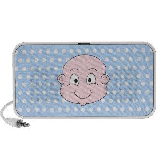 Niedlicher Baby-Junge, auf blauem Polkapunktmuster iPod Speaker