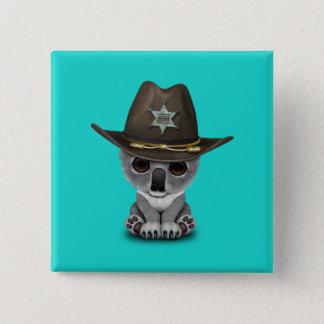 Niedlicher Baby-Koala-Bärn-Sheriff Quadratischer Button 5,1 Cm