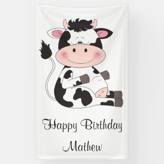 Niedlicher Baby-Kuh-Cartoon Banner