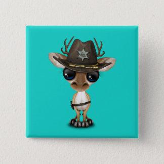 Niedlicher Baby-Rotwild-Sheriff Quadratischer Button 5,1 Cm
