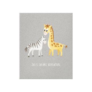 Niedlicher Baby-Zebra und Giraffe Leinwanddruck