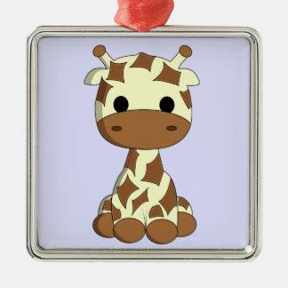 Niedlicher Babygiraffen-Cartoon Quadratisches Silberfarbenes Ornament