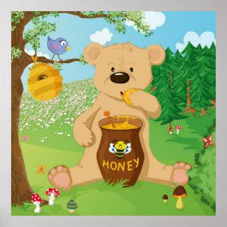 Niedlicher Bär, der Honig isst Poster