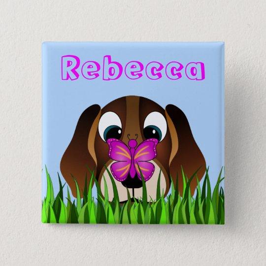 Niedlicher Beagle-Welpen-Hunde-und Quadratischer Button 5,1 Cm