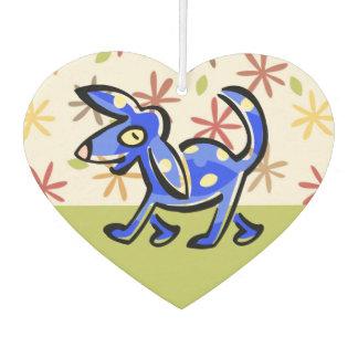 Niedlicher blauer Cartoon-Hund, Hund auf einem Weg Lufterfrischer