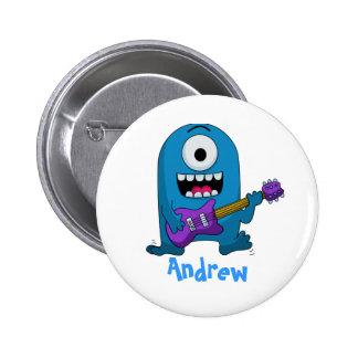 Niedlicher blauer Monster-Gitarrist Runder Button 5,1 Cm