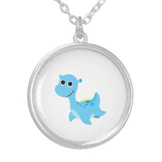 Niedlicher blauer Nessie Halskette Mit Rundem Anhänger