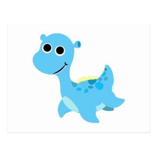 Niedlicher blauer Nessie Postkarte