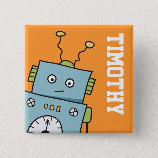 Niedlicher blauer Roboter mit personalisiertem Quadratischer Button 5,1 Cm