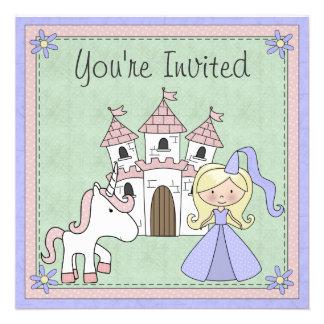 Niedlicher blonder Prinzessin-und Personalisierte Ankündigungskarte