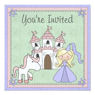 Niedlicher blonder Prinzessin-und Quadratische 13,3 Cm Einladungskarte