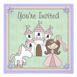 Niedlicher brünetter Prinzessin-und Quadratische 13,3 Cm Einladungskarte