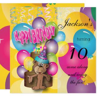 Niedlicher Cartoon-Affe - Kindergeburtstag-Party Quadratische 13,3 Cm Einladungskarte