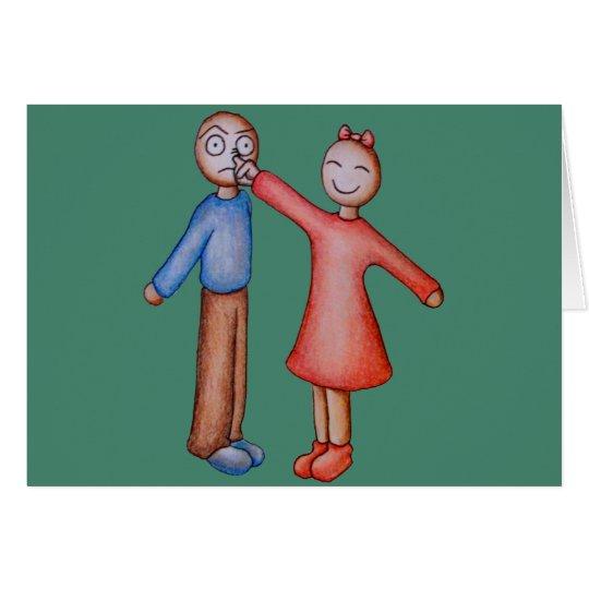 Niedlicher Cartoon der Mädchen-Sammeln-Jungen-Nase Grußkarte