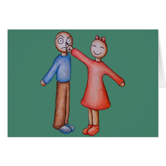 Niedlicher Cartoon der Mädchen-Sammeln-Jungen-Nase Karte