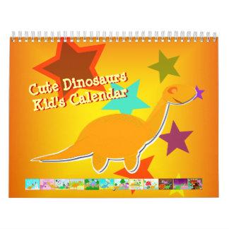 Niedlicher Cartoon-Dinosaurier-Kalender für Kinder Wandkalender