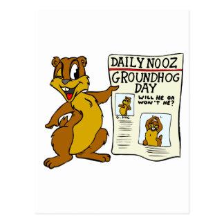 Niedlicher Cartoon Groundhog mit Groundhog Tag Postkarte