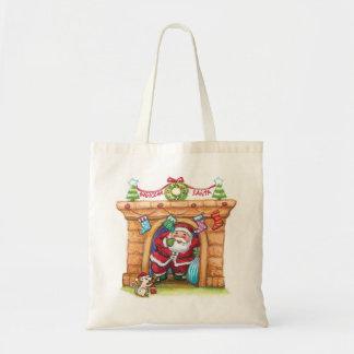 Niedlicher Cartoon lustiger Weihnachtsmann, der Tragetasche