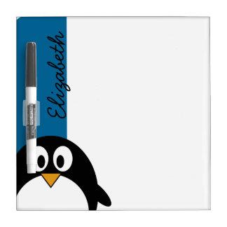 niedlicher Cartoon Penguin mit blauem Hintergrund Trockenlöschtafel
