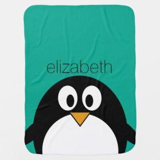 niedlicher Cartoon Penguinsmaragd und -SCHWARZES Baby-Decke