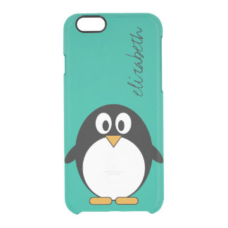 niedlicher Cartoon Penguinsmaragd und -SCHWARZES Durchsichtige iPhone 6/6S Hülle
