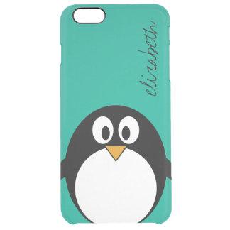 niedlicher Cartoon Penguinsmaragd und -SCHWARZES Durchsichtige iPhone 6 Plus Hülle