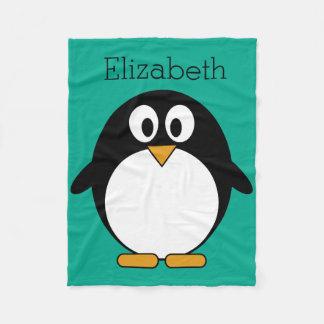 niedlicher Cartoon Penguinsmaragd und -SCHWARZES Fleecedecke