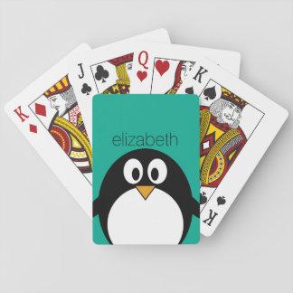 niedlicher Cartoon Penguinsmaragd und -SCHWARZES Spielkarten
