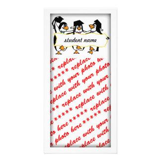 Niedlicher Cartoon schloss Penguins w/Banner ab Individuelle Foto Karten