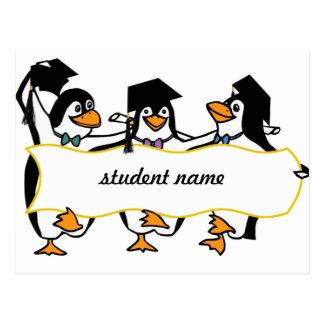 Niedlicher Cartoon schloss Penguins w/Banner ab Postkarte