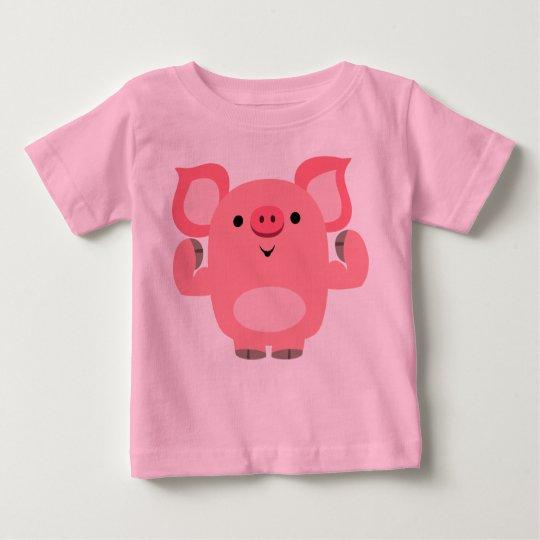 Niedlicher Cartoon-Schwein-Baby-T - Shirt mit
