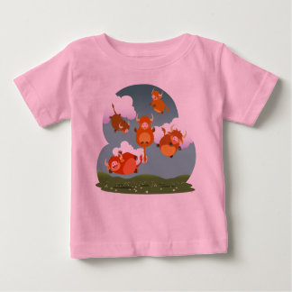Niedlicher Cartoon-sich hin- und herbewegendes Baby T-shirt
