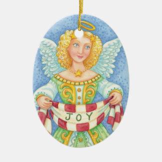 Niedlicher Cartoon-Weihnachtsengels-Halo mit Ovales Keramik Ornament
