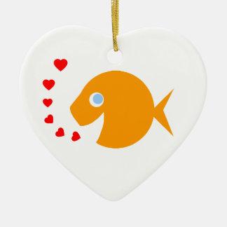 Niedlicher CartoonGoldfish mit den blauen Augen Keramik Ornament