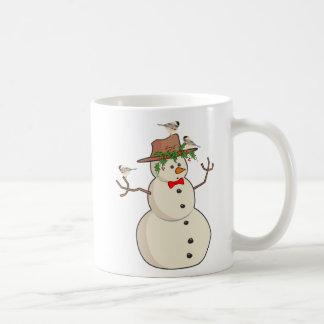 Niedlicher Chickadee und Snowman, Winter-Vögel Kaffeetasse
