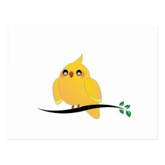 Niedlicher Cockatiel auf einem Zweig Postkarte