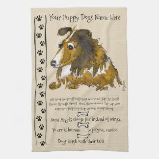 Niedlicher Collie-Cartoon-Hund zitiert Küchen-Tuch Geschirrtuch