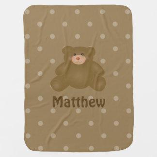 Niedlicher Cuddly Brown-Babyteddy-Bär und Puckdecke