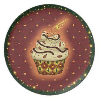 Niedlicher Cupcake mit Mandeln Teller