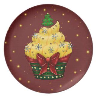 Niedlicher Cupcake mit Weihnachtsbaum Melaminteller