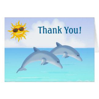 Niedlicher Delphin-Ozean-Strand danken Ihnen Mitteilungskarte