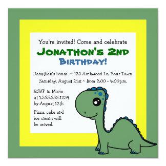 Niedlicher Dinosaurier-Thema-Kindergeburtstag - Quadratische 13,3 Cm Einladungskarte