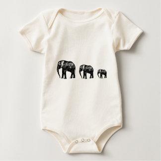 Niedlicher Elefant-Familien-Silhouetteentwurf Baby Strampler