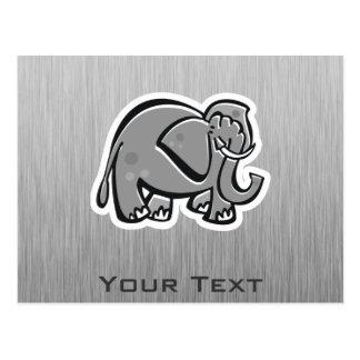 Niedlicher Elefant; Metall-Blick Postkarte