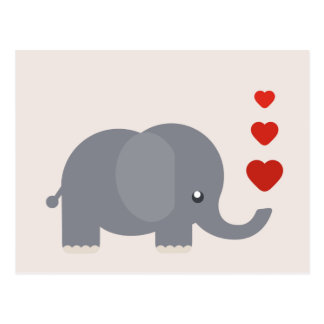 Niedlicher Elefant mit wunderlicher Liebe der Postkarte