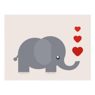 Niedlicher Elefant mit wunderlicher Liebe der Postkarten