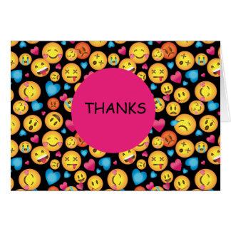 Niedlicher Emoji Druck danken Ihnen Mitteilungskarte