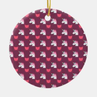 Niedlicher Emoji Unicorn und Herz-Muster Keramik Ornament