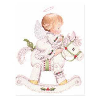Niedlicher Engel auf einem weißes Postkarte